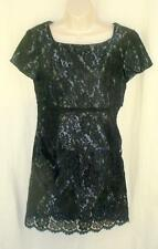 Nanette Lepore Black  Lace Dress 10 Occasion Waist Ribbon Bow Scalloped Hem