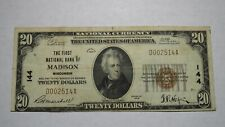 $20 1929 Madison Wisconsin WI National Currency Bank Note Bill Ch. #144 RARE!