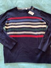 New NWT Childrens Place Crewneck Sweater Size XL 14 Striped Red Navy Christmas