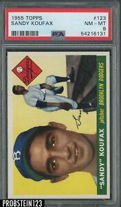 1955 Topps #123 Sandy Koufax Brooklyn Dodgers RC Rookie HOF PSA 8