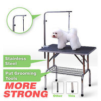 48'' AdjustablePortable Pet Dog Cat Grooming Table Dog Show W/Arm &Noose &