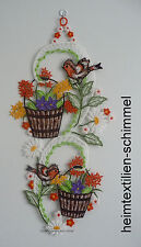 Plauener spitze Fensterbild Frühling Fensterdeko Vögel Sommer Blumen
