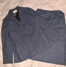 Vtg Pendleton Gray Blue  Tweed Wool Blazer Skirt Suit Sz S/M