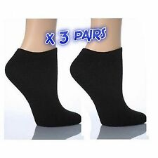 3 X Pairs of Trainer Socks Black Ankle Size Men 6-11 Cotton Rich Sport Thin Cool