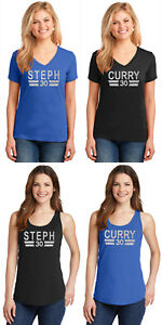 New Steph Curry Silver Glitter T-Shirt or Tank Top Ladies Jersey Tee Women's
