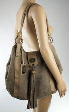 APART fashion Bag Schultertasche Veloursleder Wildleder taupe graubraun beige