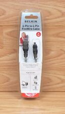 Genuine Belkin (P47485) 6-Pin to 4-Pin Black FireWire 6 Ft 1.8m Cable **READ**