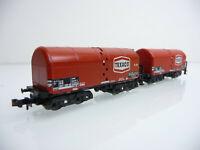 Minitrix N 1:160 13592 2-teiliger Schweröl-Kesselwagen Zug TEXACO 4-achsig rot