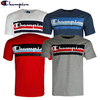 Champion Men's GT23H-Y07978 Short Sleeve Striped Front Script Logo T Shirt