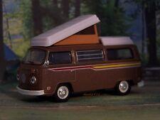 1972 VW VOLKSWAGEN T2 BUS CAMPER VAN COLLECTIBLE DIECAST MODEL - 1/64 DIORAMA