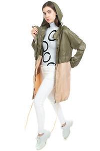 RRP €105 KORALLINE Parka Style Jacket SIze IT 46 L Two Tone Logo Detail Hooded