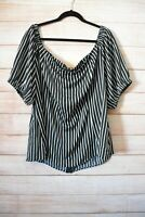 City Chic Top Size Plus Large Black White Striped Off Shoulder Exposed Zip