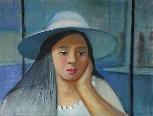 """Painting """"Girl with Blue Hat"""" oil on canvas, 9 x 12 in. 2001  by Michael Koch"""