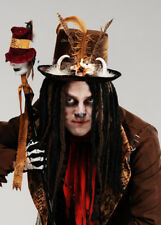 Witch Doctor Hat With Dreads Halloween Fancy Dress Black Voodoo Top Mens Amscan