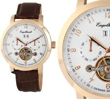 Automatik Herren Armbanduhr Silber/Rosegold/Braun Lederarmband ENGELHARDT 289uvp