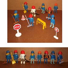 PLAYMOBIL 1974 chantier travaux accessoires 8 personnages pioche pulvérisateur#5