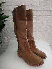 Ladies Timberland Tall Brogue Boots Size US 7 UK 5 EU 38 Tan Leather & Canvas