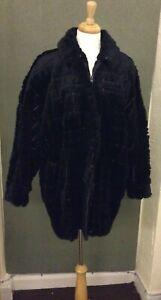 Sakowitz Vintage   Black Rabbit Coat S-S