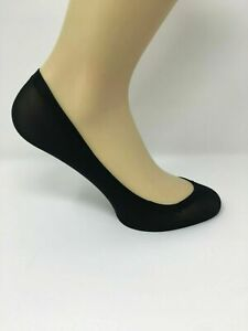 4 Pairs of Ladies Footsies Black and Nude One Size Shoe Liners Invisible Socks