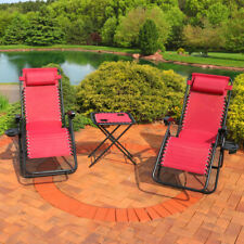 Sunnydaze Zero Gravity Reclining Lounge Chairs - Set of 2 with Side Table - Red
