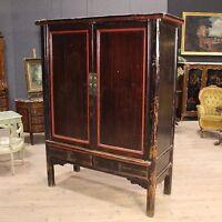 Armadio guardaroba in stile antico mobile stipo cinese in legno laccato 900 XX