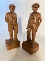 """Claude Caron Set of 2 Wood Carved Sculptured Statues. 9 3/4"""" Stunning Detailed"""