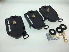 "Set of 3 Quartz Battery Movements with Pendulum Hanger Fits 1/8"" Dial"