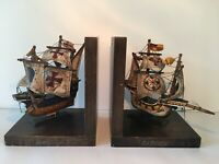 Vintage Boat Ship Bookends Columbus Fabric Wood Santa Maria La Pinta Antique