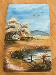 Country side hand painted picture on wood