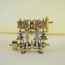 Mini Brass Engine Model Toy Double Cylinder Reciprocating Engine for Ship Model