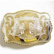 """Initial """"T"""" Letter Large Gold & Silver Rodeo Western Cowboy Metal Belt Buckle"""