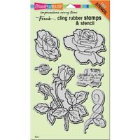 Cling Rose Garden Rubber Stamp & Stencil by Stampendous CRS5101 NEW!
