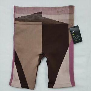 "NEW Nike Women's Icon Clash 8"" Training Sculpt Shorts Brown CJ5091-283 Large"