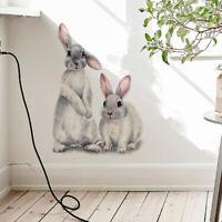 Dos Dulce Conejo Adhesivo de Pared Niños Habitación Decoración Desmontable