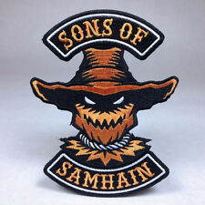 Hallows Eve Halloween Biker Patch: Sons of Samhain - Bat Witch Ghost Pumpkin