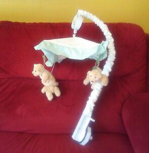 Lambs & Ivy DREAMS & WISHES Teddy Bear Musical Crib Mobile Nurse Green Tan