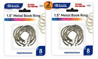"2 Pack - 1.5"" Inch Metal Silver Color Book Rings 8 Per Pack Home, School, Office"