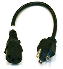 1' ft Foot US 3-Prong Computer PC Power Supply 3-Prong Monitor Cable Cord