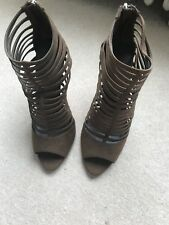 ZARA HIGH STRAPPY /  GLADIATOR SHOES IN BROWN SUEDE-LOOK UK 7 EU 40, VGC