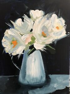 "Original Acrylic Painting - ""Peonies In Blue"""