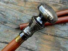 Antique Victorian Brass Knob Handle Vintage Brown Wooden Walking Stick Cane gIft