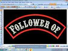 "Custom Embroidered Rocker  Patch sew on Motorcycle Biker Back Tag 13""  top only"