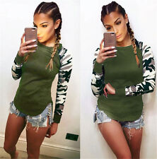 UK 6-22 Womens Casual Camouflage Sleeve Tops Shirt Ladies Loose T-shirt Blouse