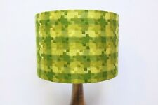 Original 70s Fabric Lampshade, Retro, 40cm Drum, Geometric, Green, Tartan