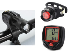 Front led rear silicone computer set kit bright light road bike cycle - UK Stock