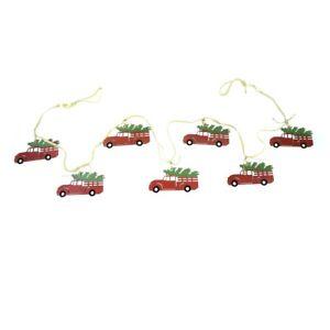 Vintage Wood Red Truck Garland Christmas Tree Ornament Hang Holiday Xmas Decor