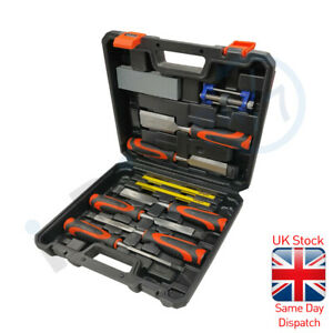 Rolson 10pc Wood Chisel Set & Sharpening Stone Honing Guide  Pencils Carpentry