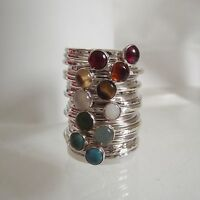 Handmade Gem Set Solid Sterling Silver Stacking Skinny Halo Ring FREE 2nd Ring