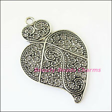 2Pcs Antiqued Silver Tone Flower Heart Leaf Charms Pendants 40x61mm