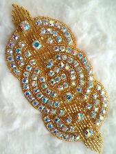 "XR9 Applique Gold Beaded Crystal AB Rhinestones Triple Circle Patch Motif 4.75"""